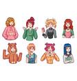 anime girls character kit manga girl with vector image vector image