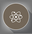atom sign white icon on vector image
