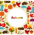Background design with autumn icons and objects vector image