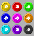Ball cap icon sign symbol on nine round colourful vector image vector image