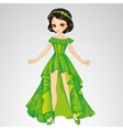 Beauty Princess In Green Dress vector image vector image
