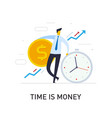 businessmen hold a huge dollar coin relies vector image