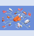 butcher shop isometric flowchart vector image