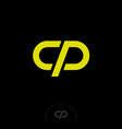 c p monogram lines business yellow vector image