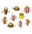 Cartoon fast food and takeaways characters vector image vector image