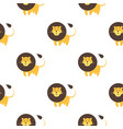 cartoon lion seamless pattern on white background vector image vector image