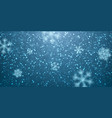 christmas snow falling snowflakes on blue vector image vector image