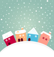 Colorful winter houses on hill with snowing behind vector image