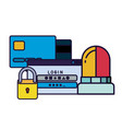 computer window with credit card and siren vector image vector image