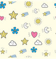 cute doodle seamless pattern vector image vector image