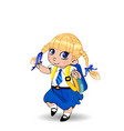 cute little blonde schoolgirl with braids and big vector image