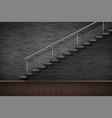 dark brick wall and prison or loft interior vector image vector image