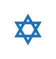 david star on israel flag symbol vector image vector image