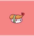 emoji a sushi set over pink background or color vector image vector image
