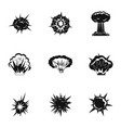 explosion destruction icons set simple style vector image vector image