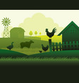 farm with animals silhouette background vector image vector image