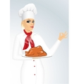 female chef cook or baker showing ok sign vector image vector image