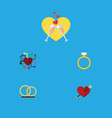 flat icon heart set of celebration ring heart vector image vector image