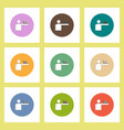 flat icons set of column chart on hand concept on vector image vector image