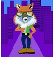 Fox hipster with coffee vector image vector image