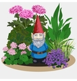 Garden gnome at plants vector image