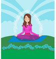 girl meditates in nature vector image