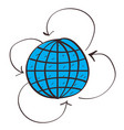 globe and arrow icon with a black outline on a vector image vector image