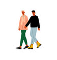 happy gay male couple two men holding hands vector image vector image