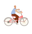 happy hipster man ride a city bike smiling vector image