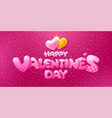 happy valentines day cute lettering with hearts vector image