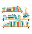 interior bookshelves books at bookshelf vector image