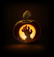 jack-o-lantern dark zombie hand vector image