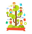 kids studying on tree vector image vector image
