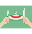 Knife and fork cutlery in hands with sausage vector image