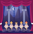 little ballerina girls on a theater stage in vector image