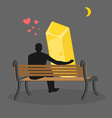 Lover gold Golden bullion and people are looking vector image vector image