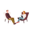 male patient in armchair and female psychologist vector image