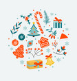merry christmas winter objects set collection vector image vector image