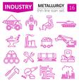Metallurgy icon set Thin line icon design vector image vector image
