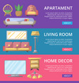 modern apartment decoration poster set vector image vector image