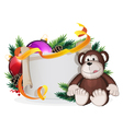 Monkey and Christmas wreath vector image
