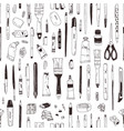monochrome seamless pattern with stationery vector image vector image