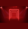 neon show light podium red background scene vector image vector image