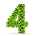 Number alphabet of green leaves vector image vector image