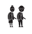 old couple black concept icon old couple vector image