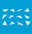 paper plane flying planes in blue sky white vector image vector image