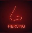pierced nose neon light icon vector image