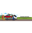 roadside assistance towing broken car over driver vector image
