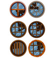 round windows with broken glass vector image vector image
