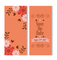 save the date romantic banners flower floral love vector image vector image